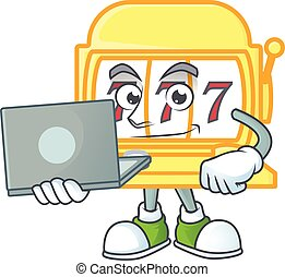 A smart golden slot machine mascot icon working with laptop