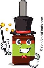 A smart Magician of liquid bottle caricature design style. ...