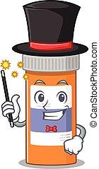 A smart Magician of pills drug bottle caricature design ...