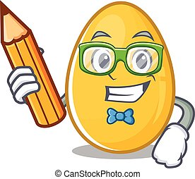 A smart Student golden egg character holding pencil