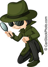A smart young detective - Illustration of a smart young...