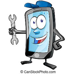 A smartphone mobile repair service or mechanic app cartoon character mascot holding spanner and giving . clip art vector illustration