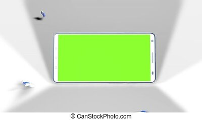 A smartphone with green screen in the middle of likes with thumbs up that fall on the floor