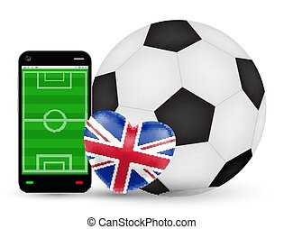 A smartphone with love England football soccer vector