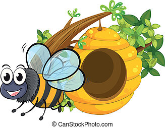 A smiling bee beside the beehive