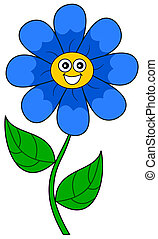 a smiling blue flower