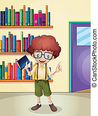 A smiling boy holding a book in front of the bookshelves -...
