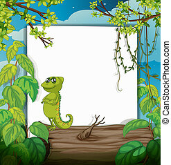 A smiling chameleons and a white board