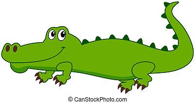 a smiling crocodile and profile