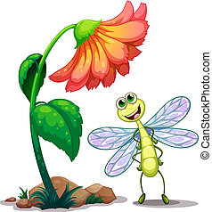 A smiling dragonfly below the giant flower - Illustration of...