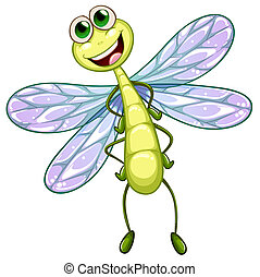 Illustration of a smiling dragonfly on a white background