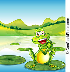 A smiling frog above the waterlily at the pond