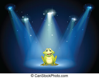 Illustration of a smiling frog at the center of the stage