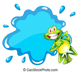 A smiling frog beside the blue empty template