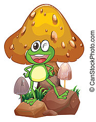 A smiling frog near the giant mushroom