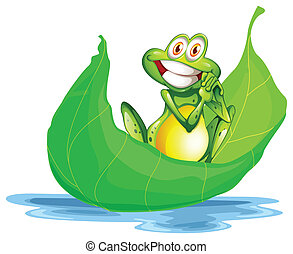 A smiling frog on the big leaf - Illustration of a smiling...