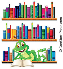 A smiling frog reading a book