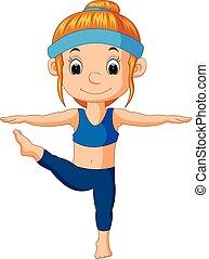 a smiling girl doing yoga