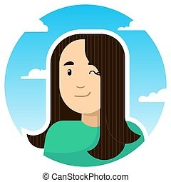 A smiling girl winks; round icon on a background of sky and clouds. Stylized vector caucasian girl.