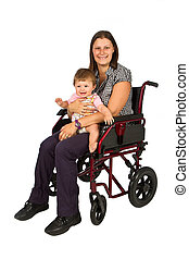 A smiling girl with a baby in a wheelchair isolated on white...