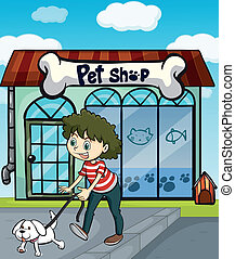 A smiling girl with dog and a pet shop