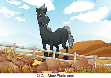 A smiling gray horse near the wooden fence