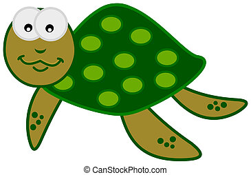 a smiling green sea turtle