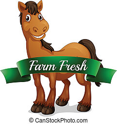 A smiling horse with a farm fresh label