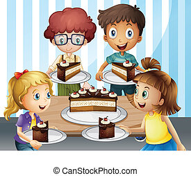 A smiling kids and cake