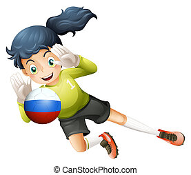 A smiling lady using the ball with the Russian flag