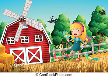 A smiling little girl at the farm with the birds
