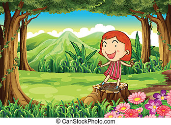A smiling little girl standing above the stump