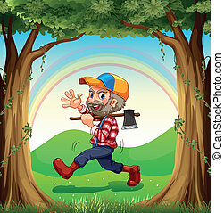 A smiling lumberjack walking at the forest