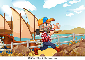 A smiling lumberjack walking with an axe