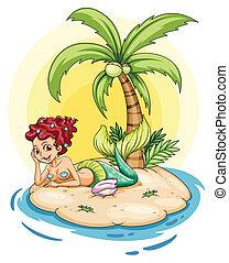 A smiling mermaid in an island