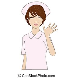A smiling nurse in uniform waving h