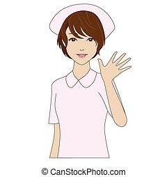 A smiling nurse in uniform waving h