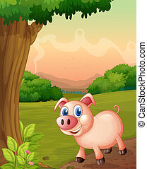 A smiling pig under the tree