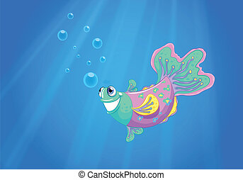 A smiling pink fish in the ocean