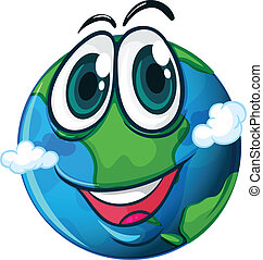 lllustration of a smiling planet Earth on a white background