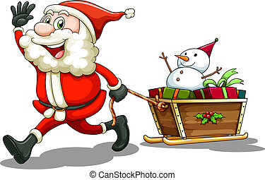 A smiling Santa pulling a sleigh - Illustration of a smiling...
