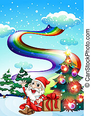 A smiling Santa with a rainbow in the sky