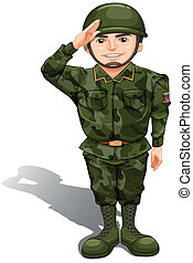 A smiling soldier doing a hand salute - Illustration of a...