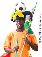south african soccer fan - a smiling south african soccer ...