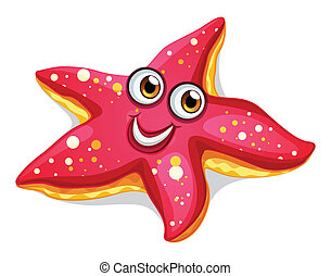 A smiling starfish - Illustration of a smiling starfish on a...