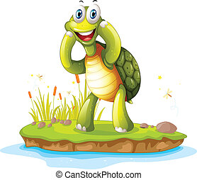 A smiling turtle in an island