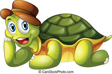 A smiling turtle lying down - Illustration of a smiling...