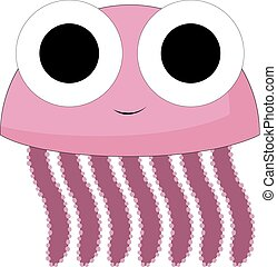 A smiling violet jelly fish, vector or color illustration...