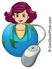 A smiling woman above the earth with a computer mouse