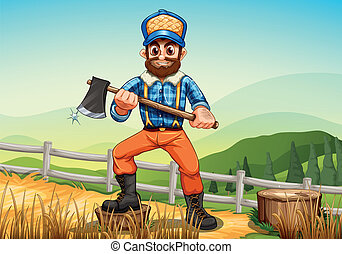 A smiling woodman holding an axe - Illustration of a smiling...
